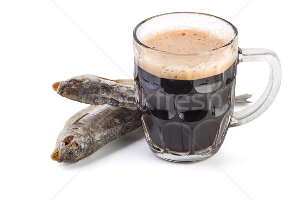 Glass mug with brown ale and dried fish Stock photo © digitalr
