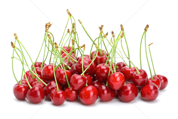 Small pile of red cherries with stalks Stock photo © digitalr