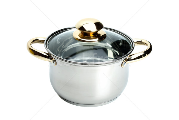 Stainless steel pot with glass cover Stock photo © digitalr