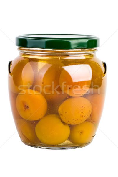 Vidro jarra conservado fruto branco doce Foto stock © digitalr