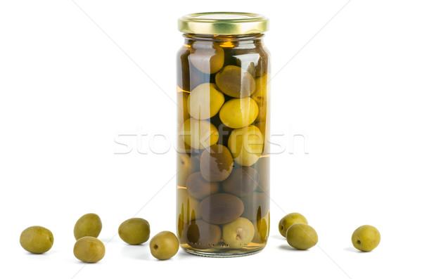 Vidro jarra verde azeitonas pretas isolado branco Foto stock © digitalr