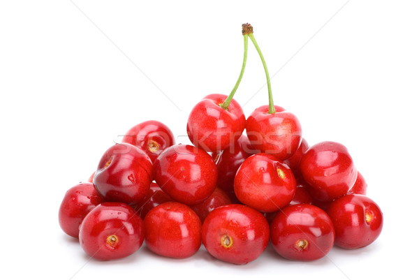 Pile of red cherries without stalks and pair berries on the top Stock photo © digitalr