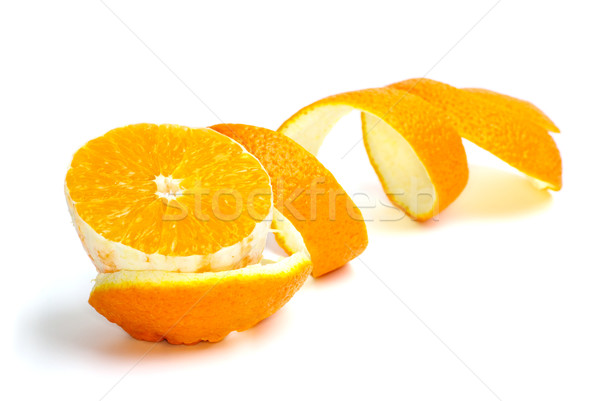 Orange slice schil geïsoleerd witte oranje huid Stockfoto © digitalr