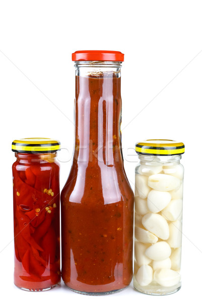 Jars with marinated piquant vegetables Stock photo © digitalr