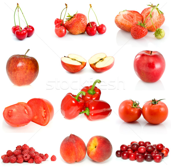 Set of red fruits, berries and vegetables Stock photo © digitalr