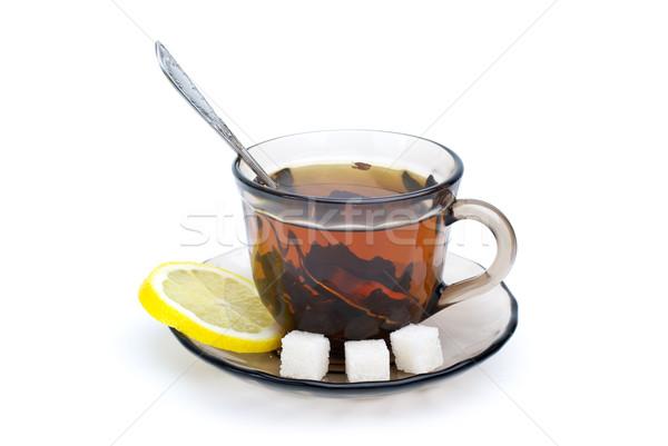Teáscsésze fekete tea teáskanál edény citromszelet Stock fotó © digitalr