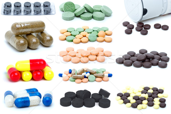 Set of different pills and tablets Stock photo © digitalr
