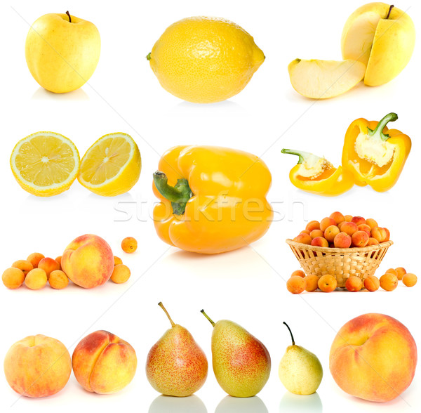 Set of yellow fruit, berries and  vegetables Stock photo © digitalr