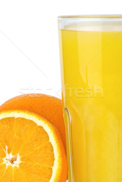 Closeup shot of drinking glass with orange juice and oranges Stock photo © digitalr
