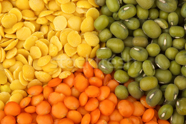 Yellow split, red 'football' lentils and green mung beans Stock photo © digitalr