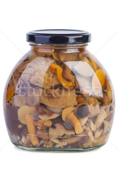üveg bögre marinált gombák fehér étel Stock fotó © digitalr
