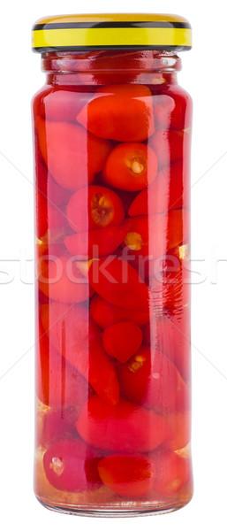 üveg bögre marinált paprikák fehér Stock fotó © digitalr
