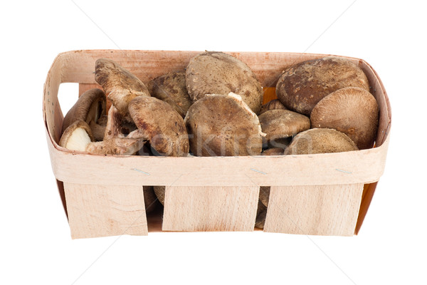 Wooden basket with shiitake mushrooms Stock photo © digitalr