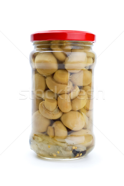 Glass jar with marinated champignons Stock photo © digitalr