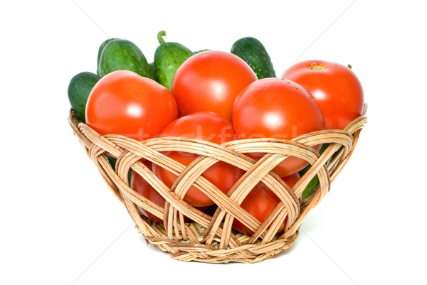 Basket with tomatoes and cucumbers Stock photo © digitalr