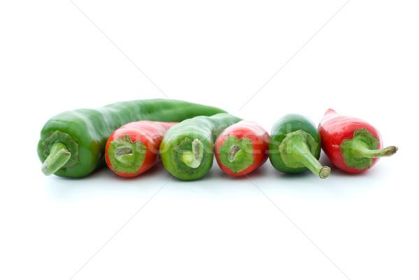 Rojo verde caliente pimientos vista lateral aislado Foto stock © digitalr