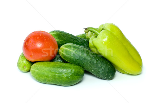Pile of cucumbers, sweet pepper and tomato Stock photo © digitalr