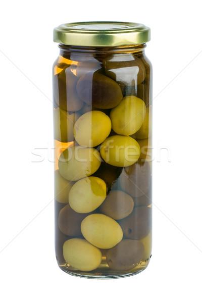 Cam kavanoz yeşil siyah zeytin yalıtılmış beyaz Stok fotoğraf © digitalr