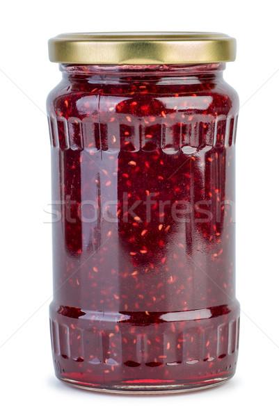ガラス jarファイル ラズベリー ジャム 孤立した 白 ストックフォト © digitalr