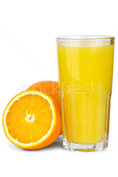 Drinking glass with orange juice and oranges near Stock photo © digitalr