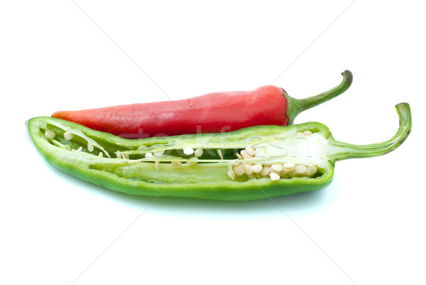 Red chili pepper and half of green Stock photo © digitalr