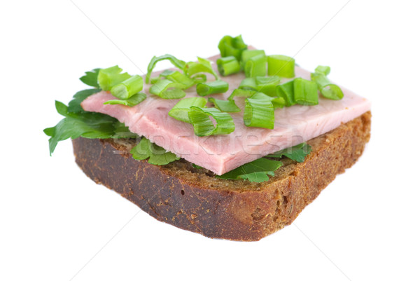 Ham sandwich with rye bread, parsley and spring onion Stock photo © digitalr