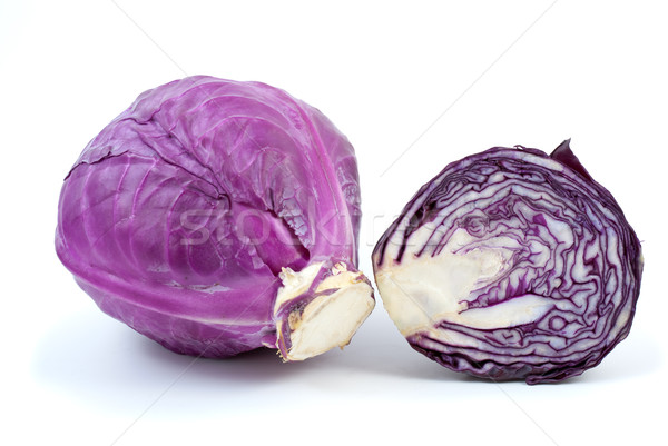Foto stock: Violeta · col · mitad · aislado · blanco