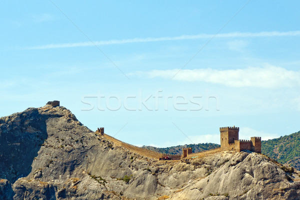 Genoese fortress just after the dawn. Crimea. Sudak Stock photo © digitalr
