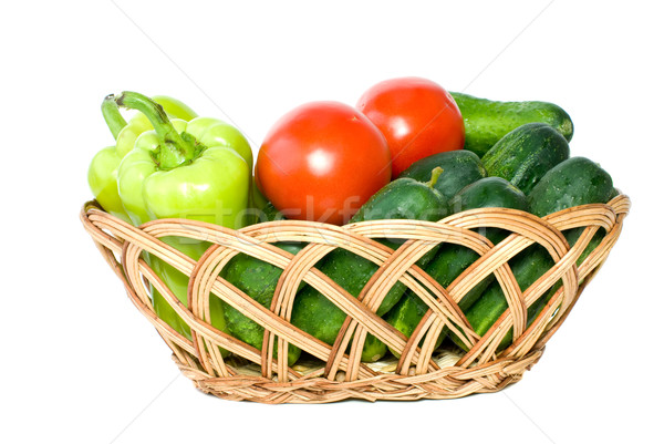 Basket with some cucumbers, tomatoes and sweet peppers Stock photo © digitalr