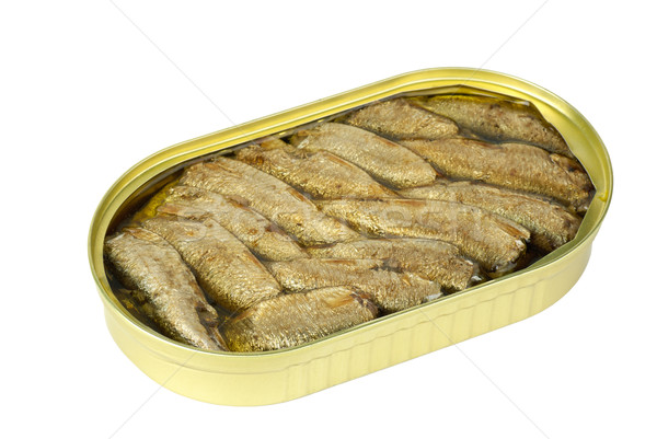 Opened tin can with conserved sprat fish Stock photo © digitalr