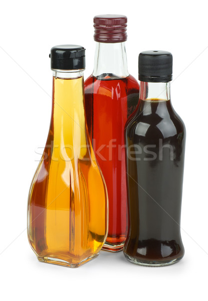 Stock photo: Bottles with apple and red wine vinegar and soy sauce