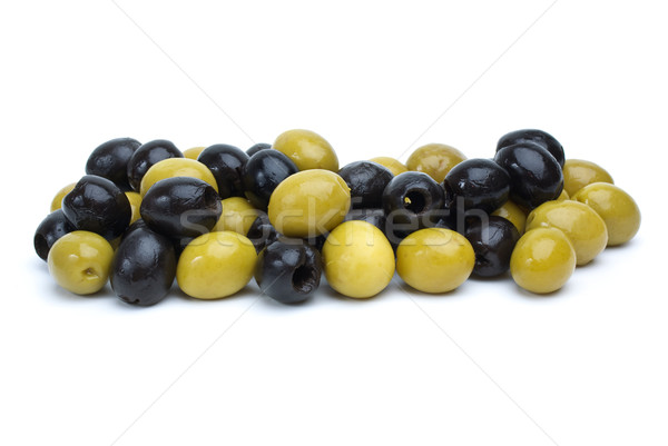 Some green with pit and black pitted olives Stock photo © digitalr