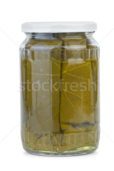 Dolma (sarma) ingredients: grape leaves conserved in the glass jar Stock photo © digitalr
