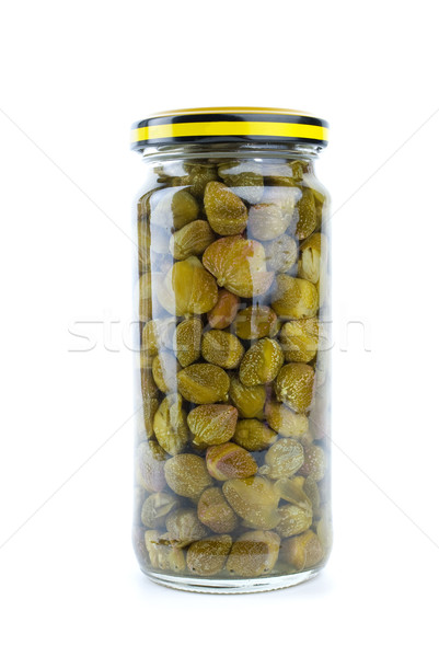 Stock photo: Glass jar with marinated capers