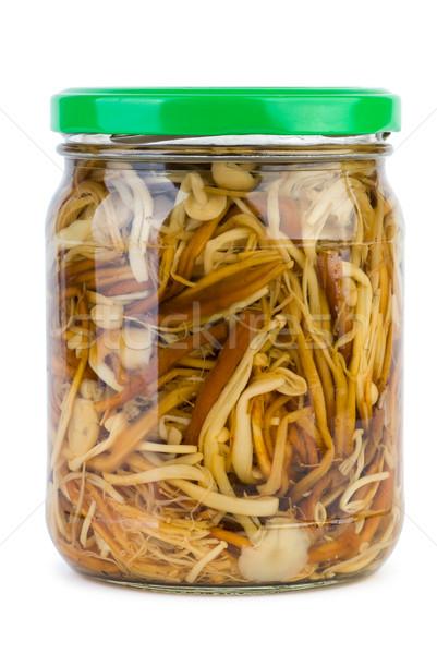 Glass jar with marinated enokitake mushrooms Stock photo © digitalr