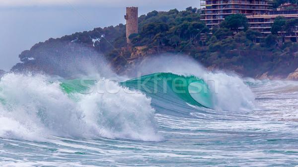 Gyönyörű hullámok spanyol mediterrán óceán nagy Stock fotó © digoarpi