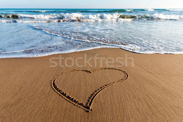 рисунок сердце песок любви природы фон Сток-фото © digoarpi