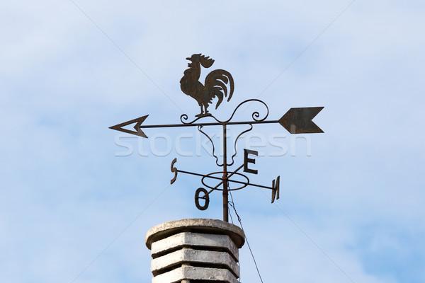 дымоход небе птица компас стрелка крыши Сток-фото © digoarpi
