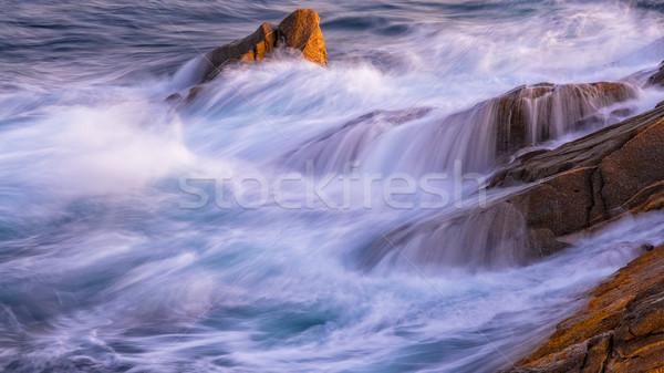 Nice ocean detail of the Spanish coastal in Costa Brava, Palamos Stock photo © digoarpi