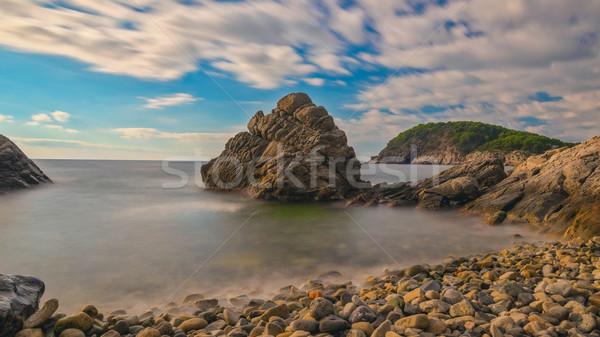 Szép tájkép spanyol tengerparti hosszú expozíció tengerpart Stock fotó © digoarpi