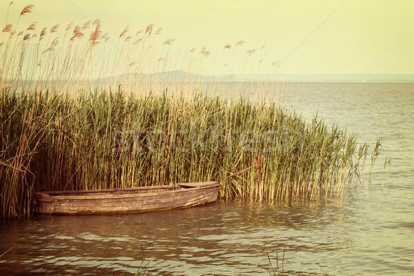 Küçük tekne göl Balaton Macaristan ahşap Stok fotoğraf © digoarpi
