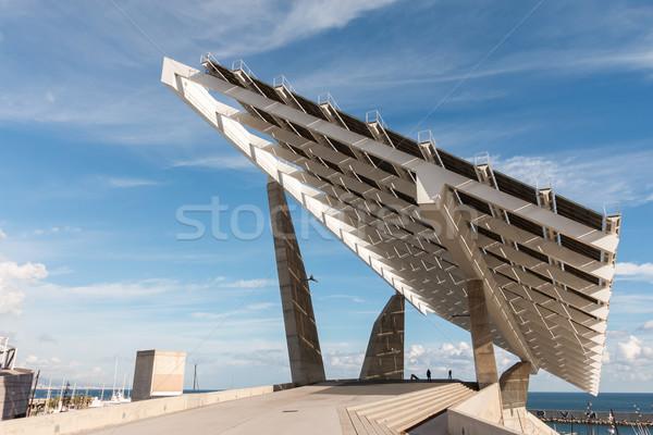 Solar panels work closely Stock photo © digoarpi