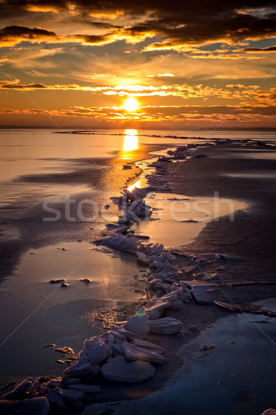 Winter sunset over the lake Balaton of Hungary Stock photo © digoarpi