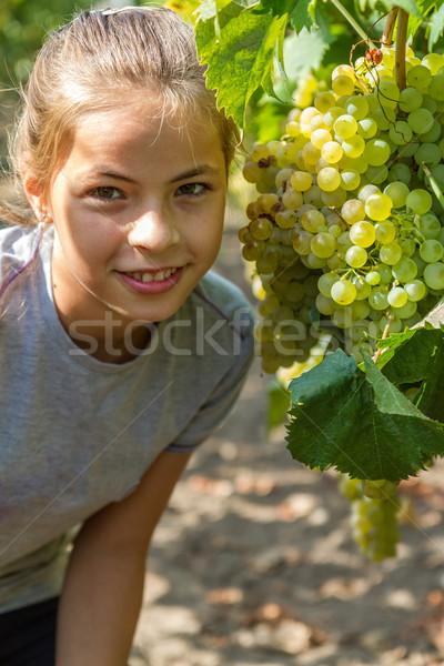 Kız portre güzel üzüm meyve yeşil Stok fotoğraf © digoarpi