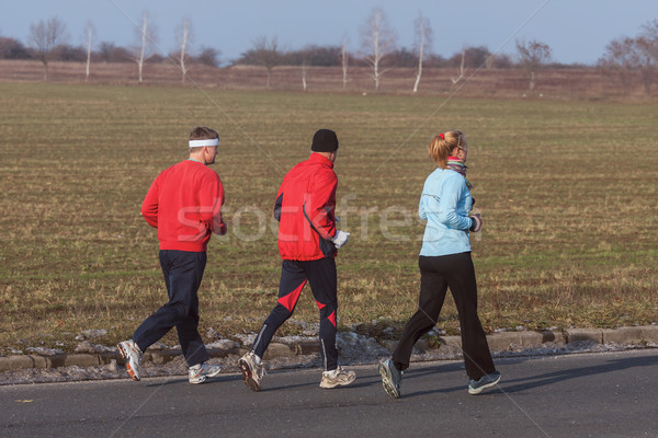 Három futók képzés verseny lány fa Stock fotó © digoarpi