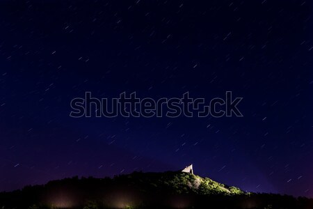 Nice night sky over the csatle Stock photo © digoarpi