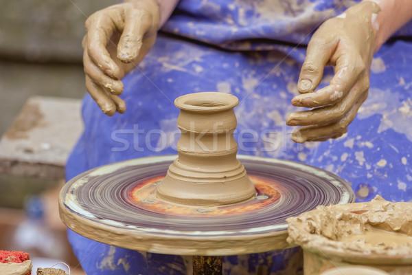 Pot ilginç meslek el çalışmak fincan Stok fotoğraf © digoarpi