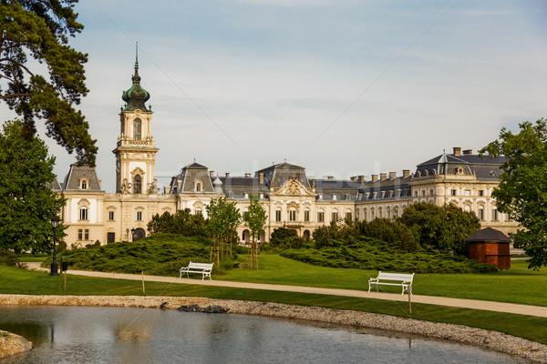 Bom castelo Hungria água grama jardim Foto stock © digoarpi
