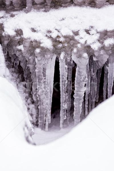 Hideg tél nap sok jégcsap víz Stock fotó © digoarpi
