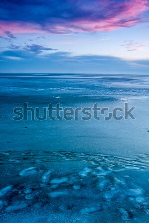 Blue winter landscape over the lake Balaton of Hungary Stock photo © digoarpi